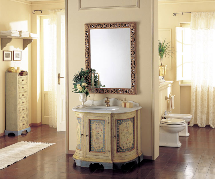 Amorgos Base Cabinet In Hand Decorated Wood Decoration Wall Mirror Carved Vanity Top Pearl White Marble Seven Drawers