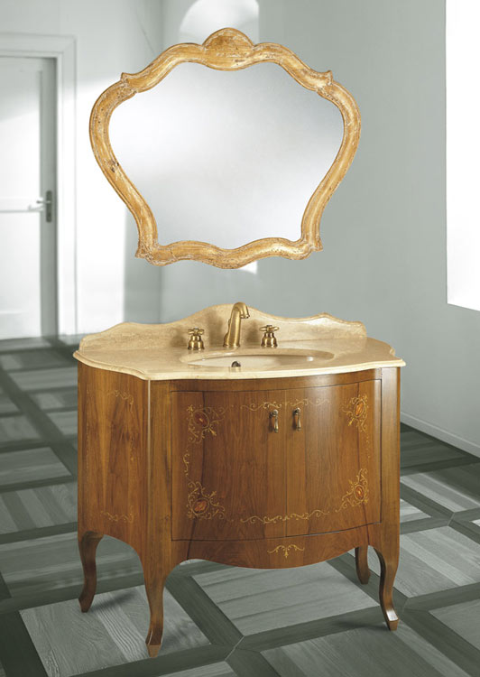 Versailles Inlaid Base Cabinet In Inlaid Wood Wall Mirror Hand Carved Wood  Vanity Top In Travertine Marble